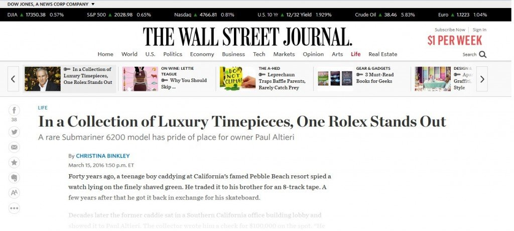 Wall Street Journal Article Featuring Paul Altieri from Bob's Watches