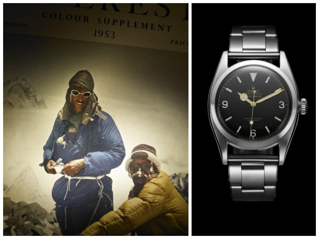 Left: Everest Expedition, 1953. Right: First Rolex Explorer, 1953. (Images courtesy of Rolex)