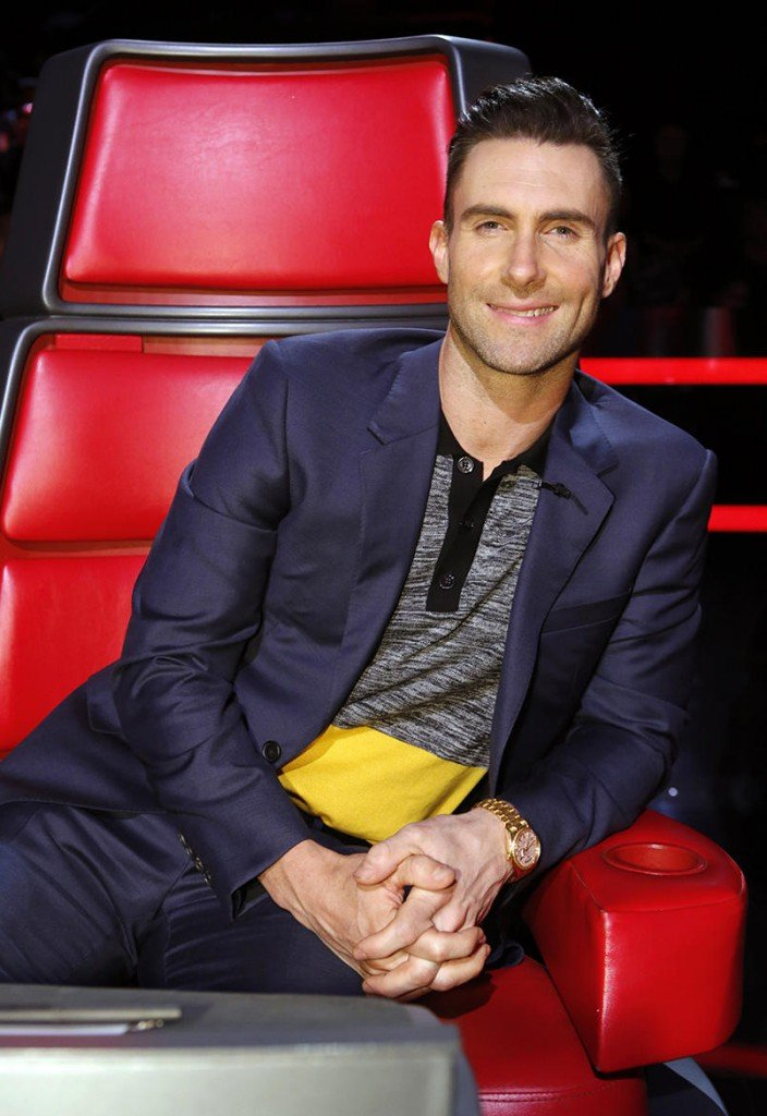 Adam Levine on the set of The Voice wearing a yellow gold Rolex Day-Date President (Image: Trae Patton/NBC)