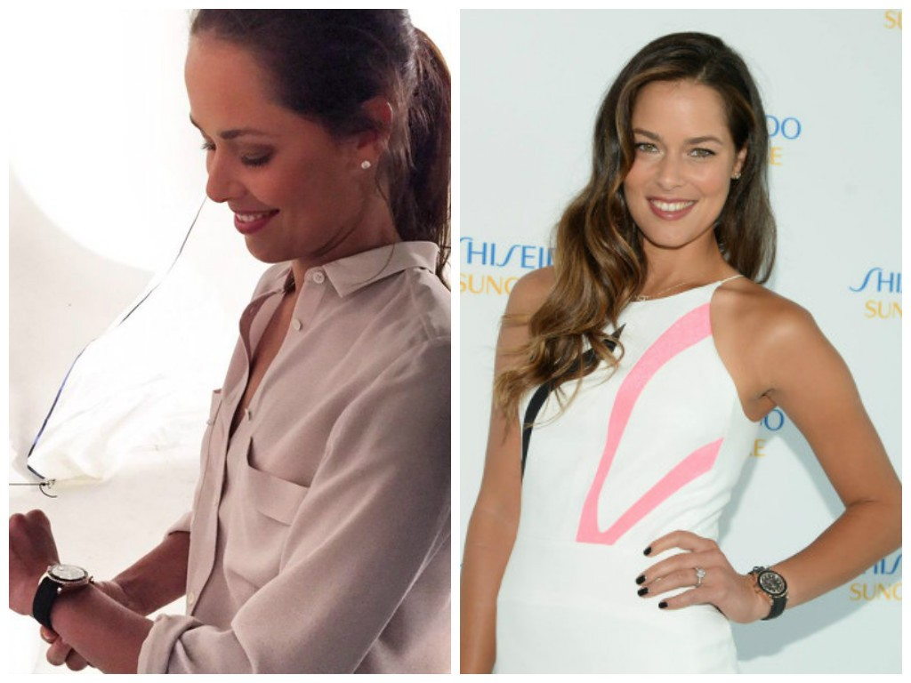Ana Ivanovic with her Everose and black Cerachrom Yacht-Master. (Images: Twitter & Anaivanovic.com)