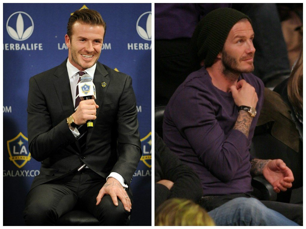 David Beckham and his vintage yellow gold Datejust on a black leather strap (Images: Bauer Griffin & Splash)