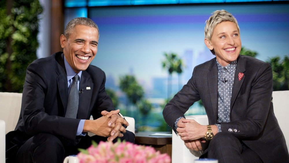 Ellen interviewing former President Obama on the Ellen Show