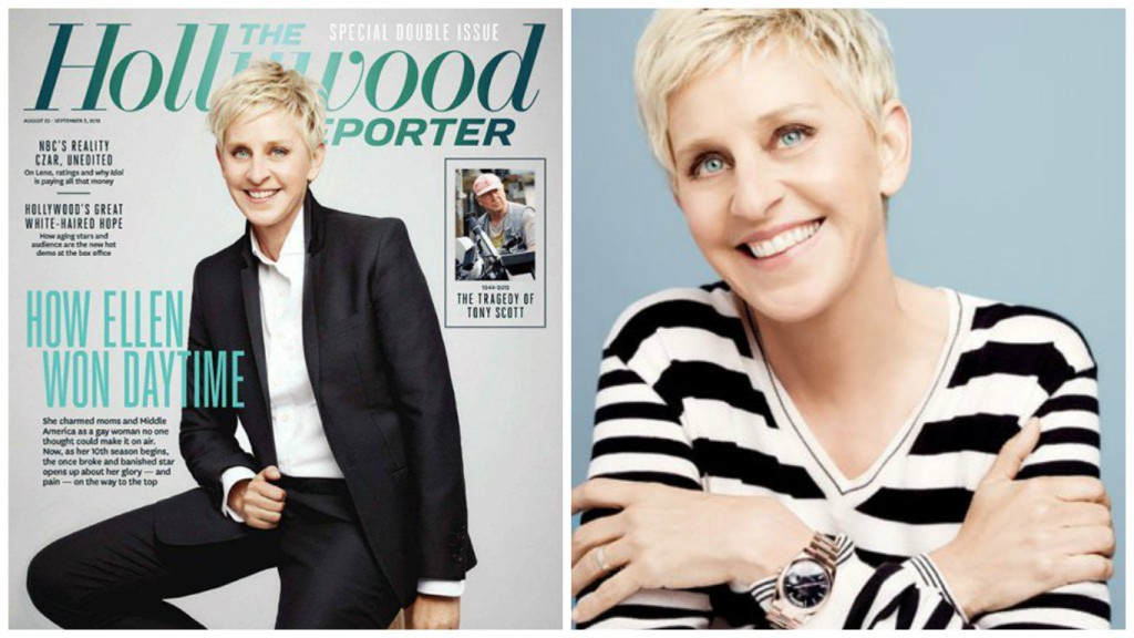 Ellen wearing an Everose pink gold Rolex Day-Date President