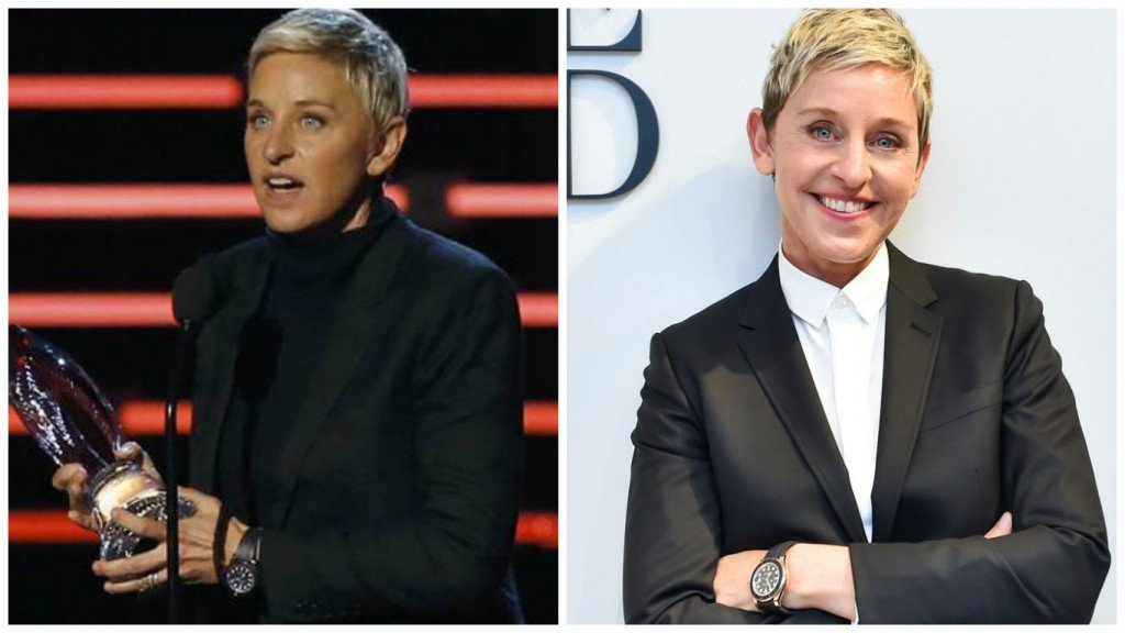Ellen wearing her Rolex Everose Yacht-Mater with black Cerachrom ceramic bezel