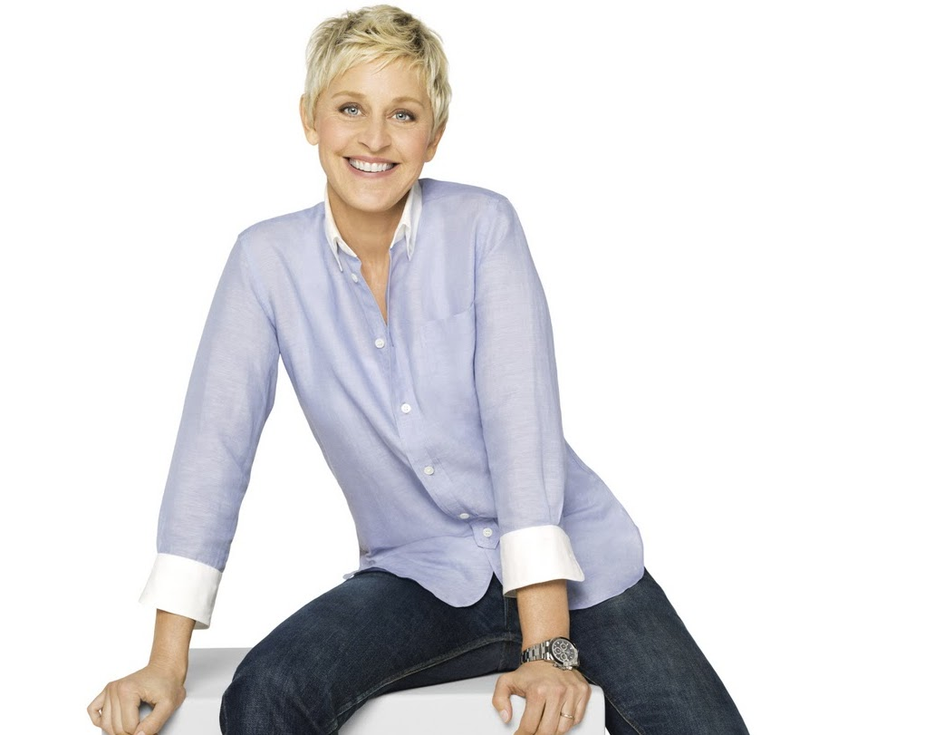 Ellen wearing a stainless steel Rolex Daytona with black dial