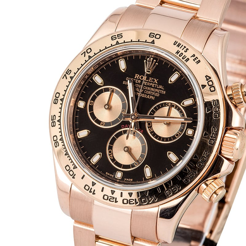 Rolex Daytona ref. 116505 with black dial and pink registers