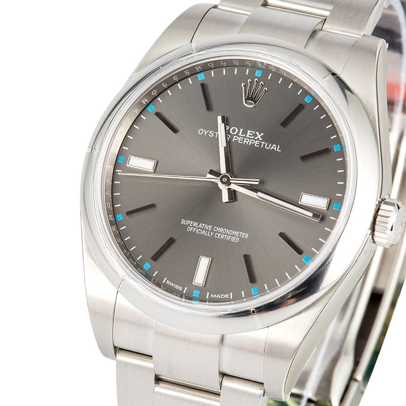 Rolex Oyster Perpetual ref. 114300 39mm with dark rhodium dial