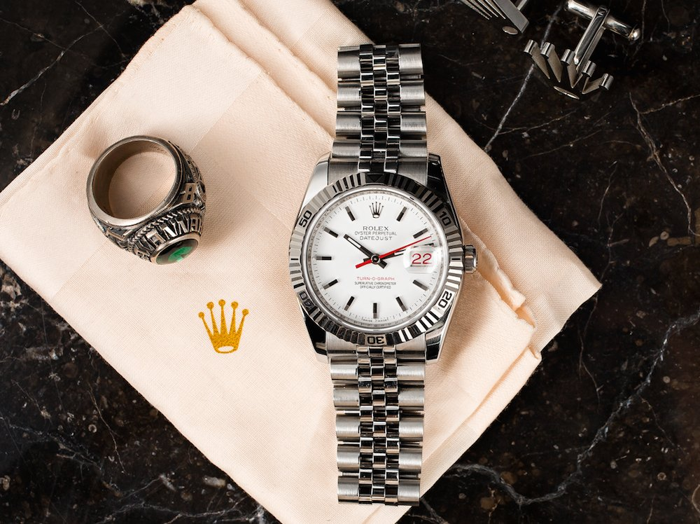 The Rolex Datejust has a great look with the fluted bezel and the red seconds hand.