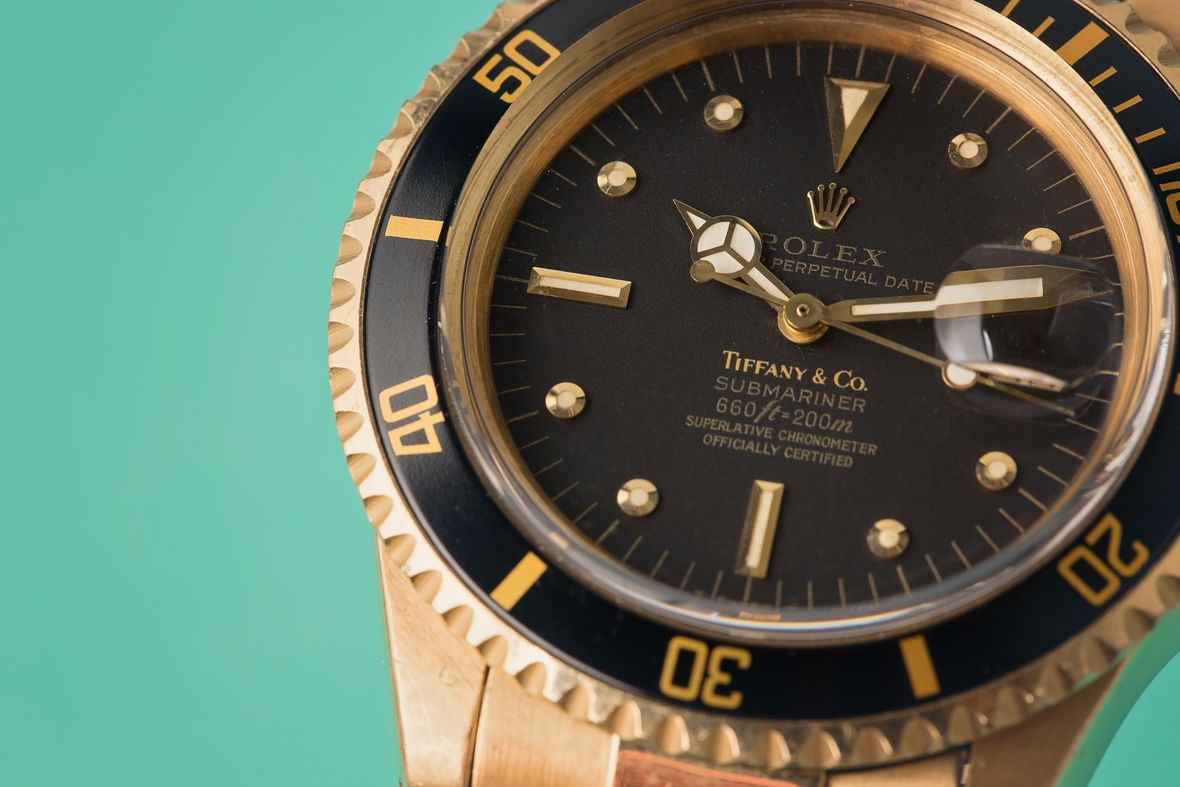 Vintage Rolex Tiffany Dials 18k Black Submariner Gold Nipple Dial