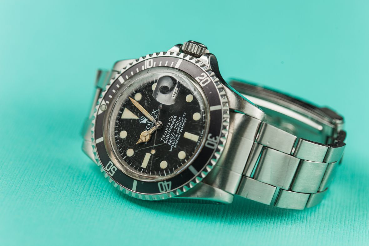 Vintage Rolex Tiffany Dials Stainless Steel Submariner Black 1680