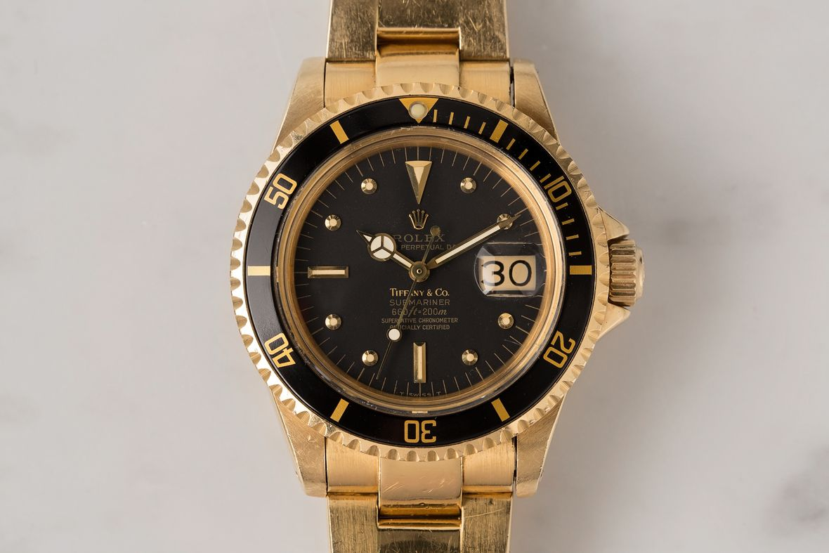 Vintage Rolex Tiffany Dials Gold Submariner 1680 Black