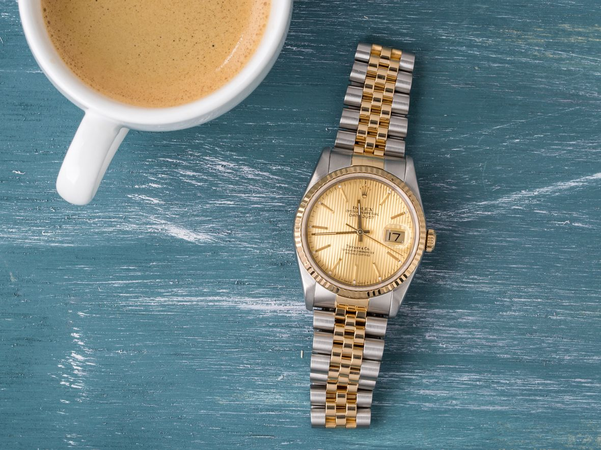 Vintage Rolex Tiffany Dials Datejust 16233 Rolesor Two-Tone Steel Gold Jubilee Bracelet