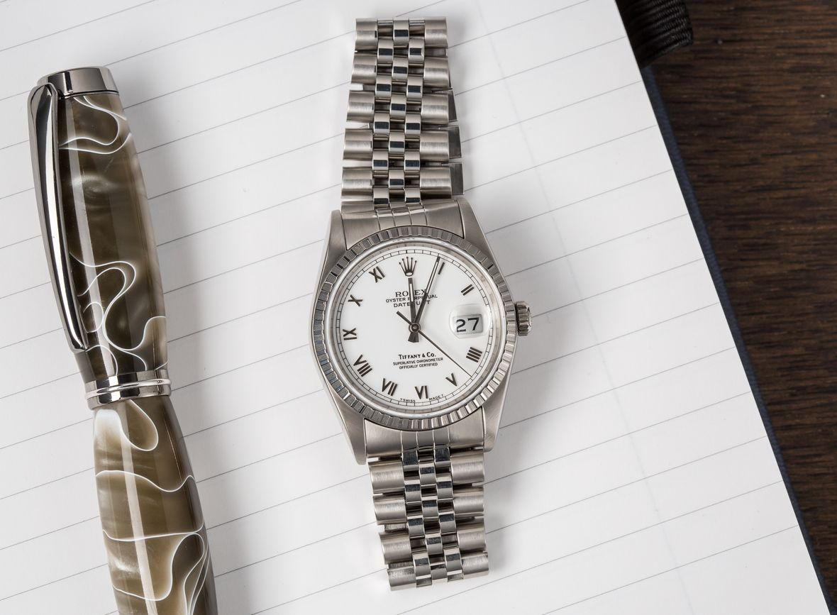 Vintage Rolex Tiffany Dials Datejust 16220 Engine Turned Bezel Jubilee Bracelet