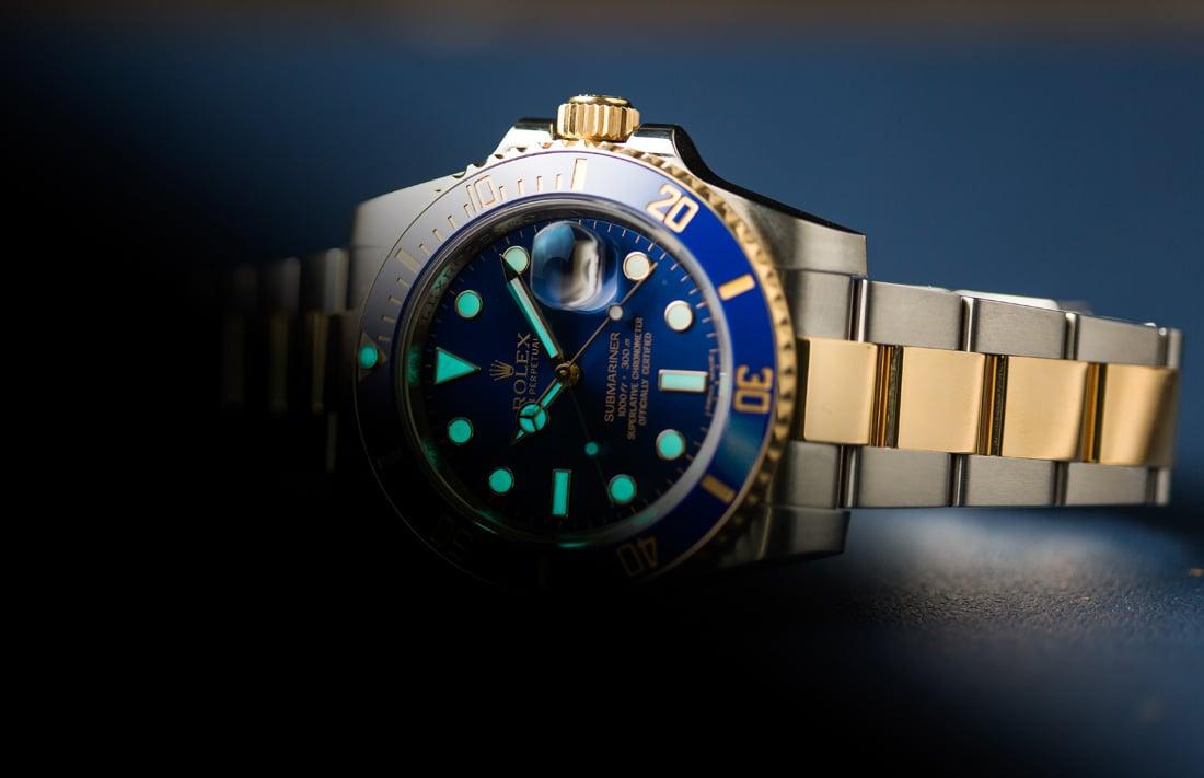 Rolex Materials Two-tone Submariner Blue Lume Rolesor Cerachrom Gold