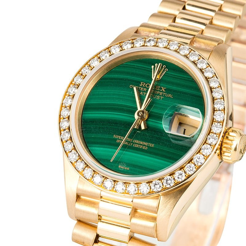 Rolex Lady Datejust President ref. 69138 with a malachite dial