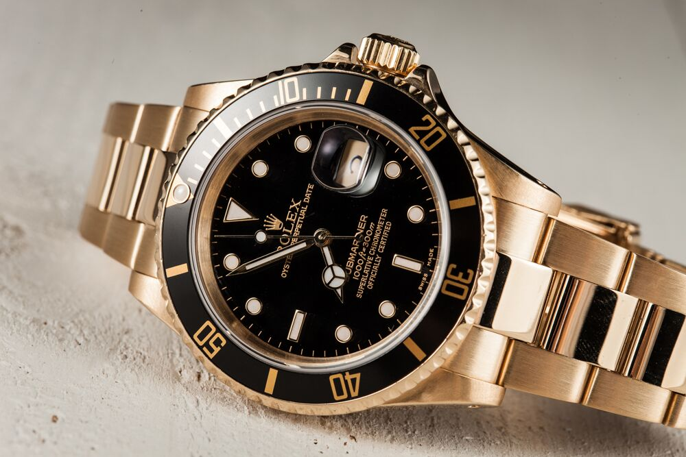 Yellow gold Rolex Submariner ref. 16618