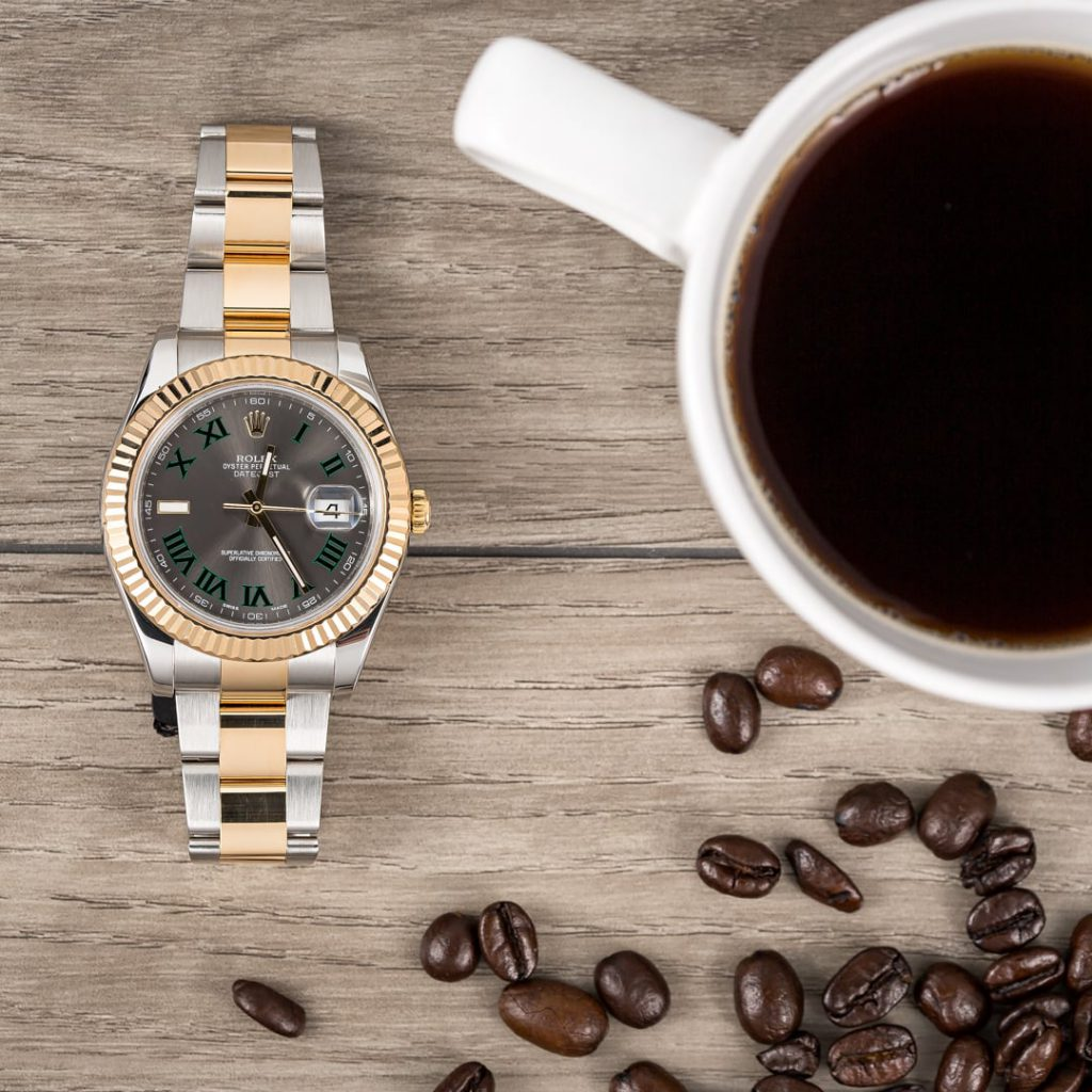 Rolex Datejust II ref. 116333 Wimbledon dial with a cup of coffee