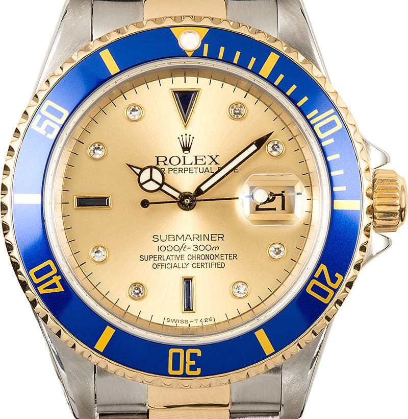 Rolex Submariner ref. 16613 with blue bezel and champagne Serti dial