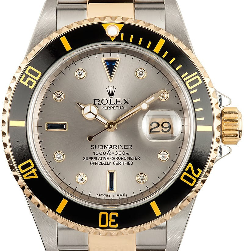 Rolex Submariner ref. 16613 with black bezel and silver Serti dial