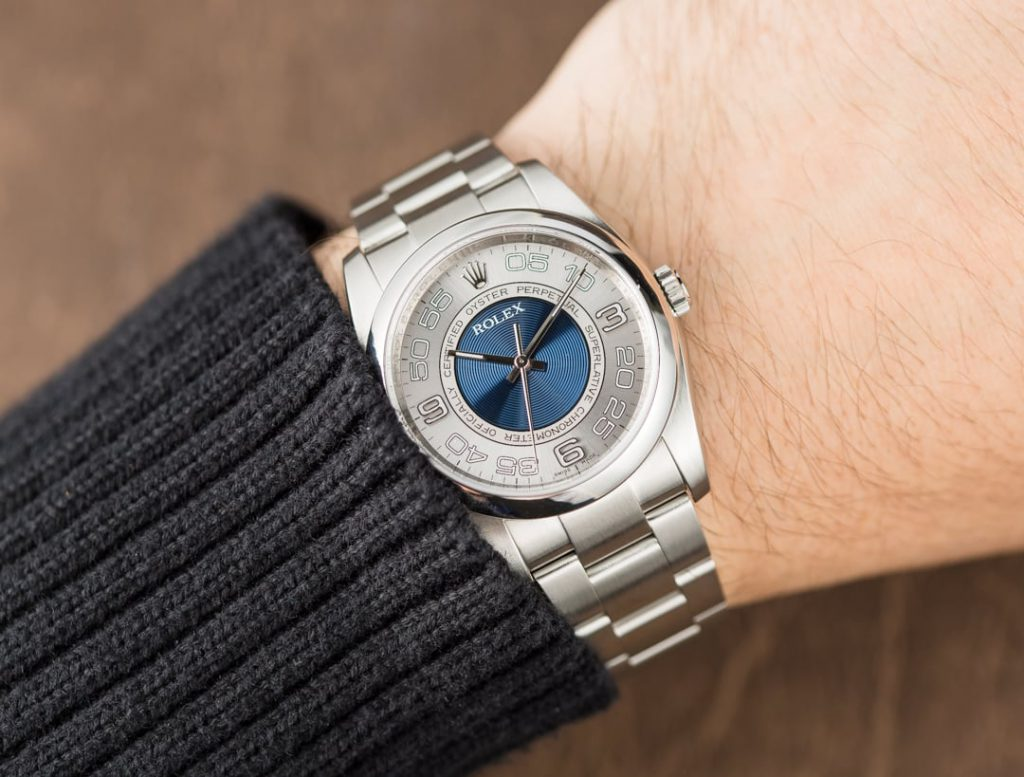 Rolex Oyster Perpetual ref. 116000 with blue concentric dial