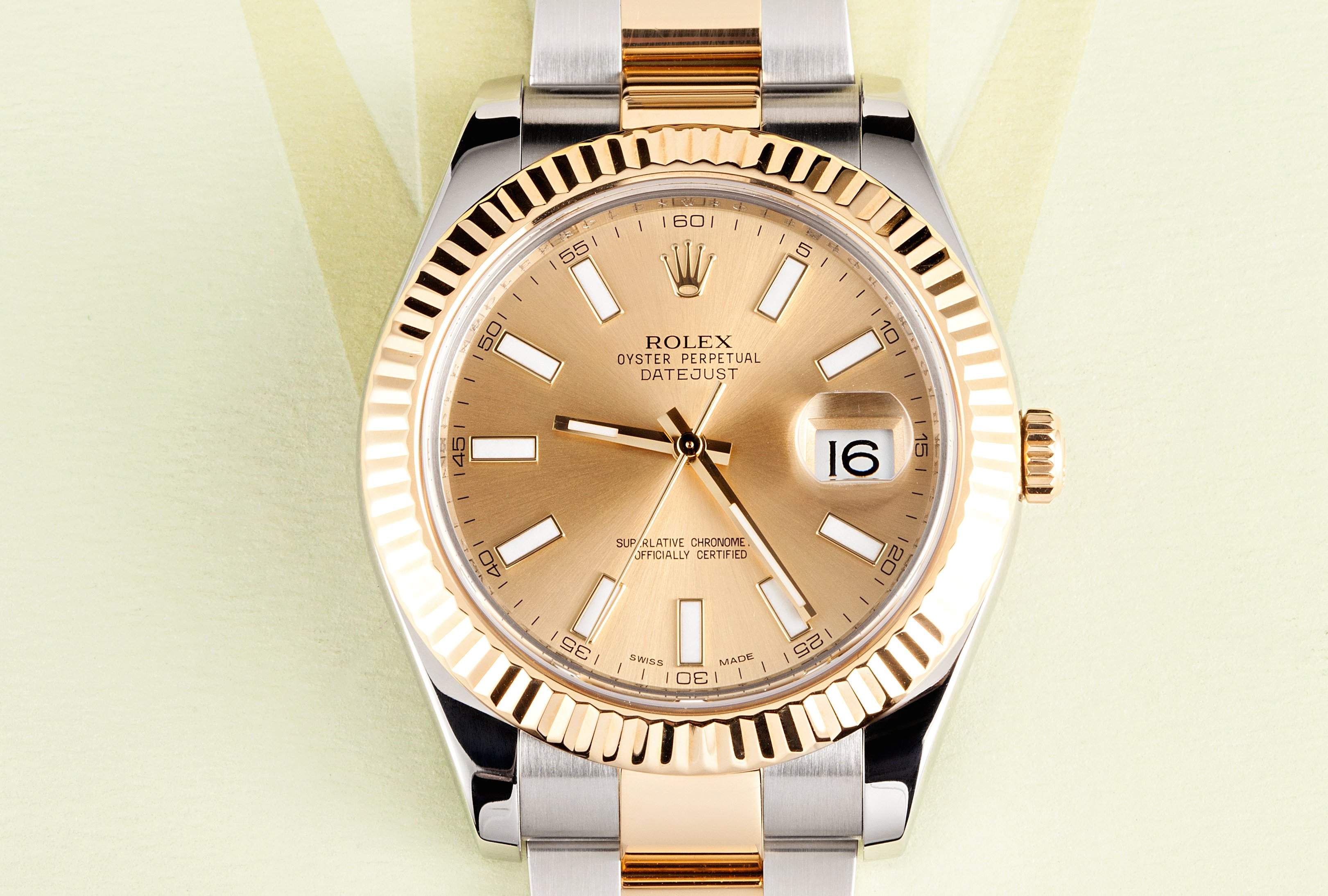 band champagne lady gallery datejust and fluted rolex steel jubilee gold dial square watch settings watches ladies diamond bezel