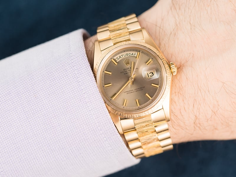 rolex president 1807 bark accents