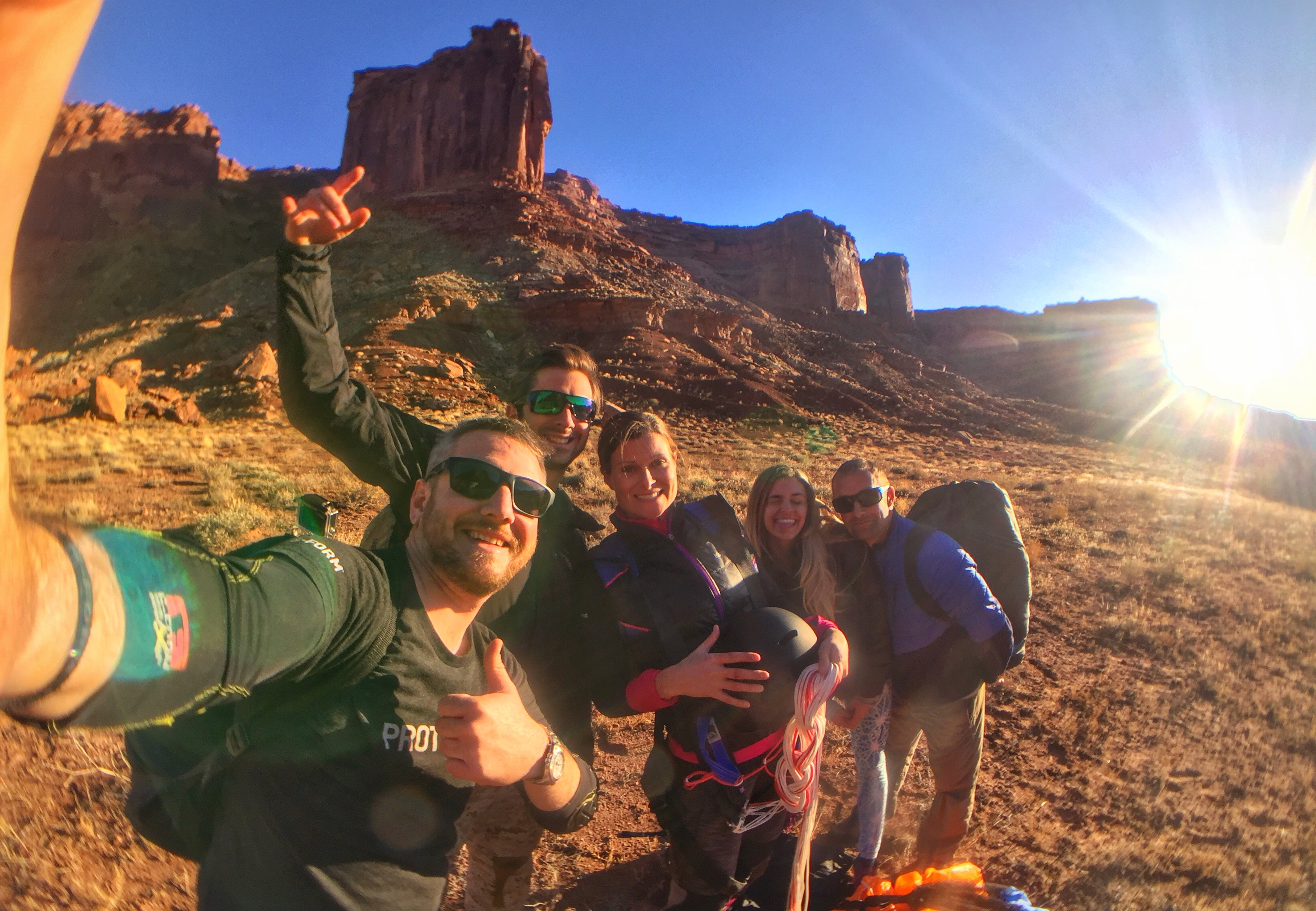 Jamie Flynn and his friends right after they jump 450ft in Moab, Utah.