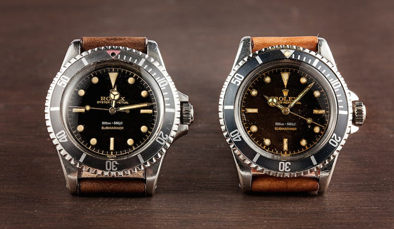 Rolex Submariner 5512 models. Left has the square crown guards and right has the pointed crown guards.