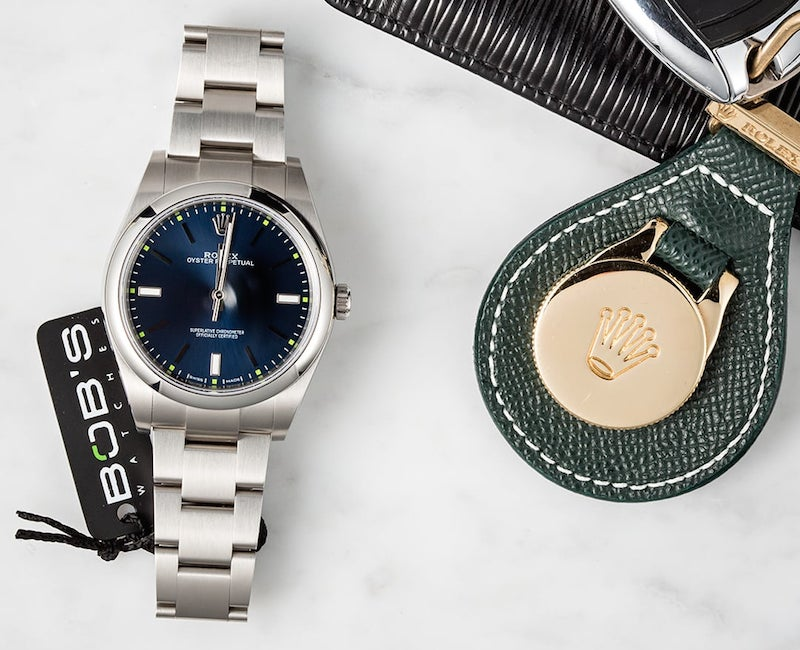 The Oyster Perpetual 39 comes in blue, purple, and silver.