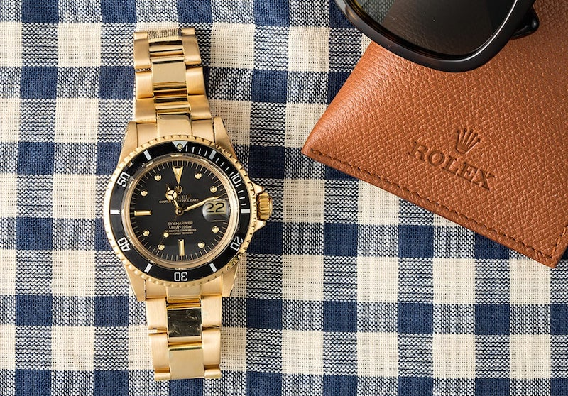 First Rolex Submariner Gold Watch Black Dial