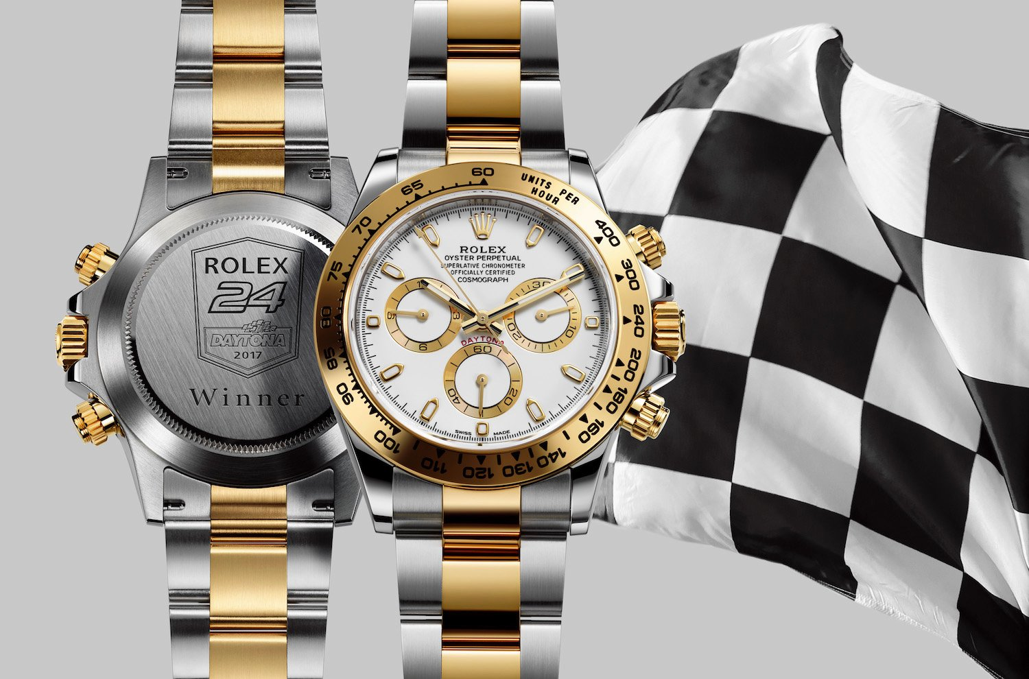 "The Daytona 116503 has an engraving on the back of the watch that reads ""Rolex 24 Daytona 2017 Winner""."