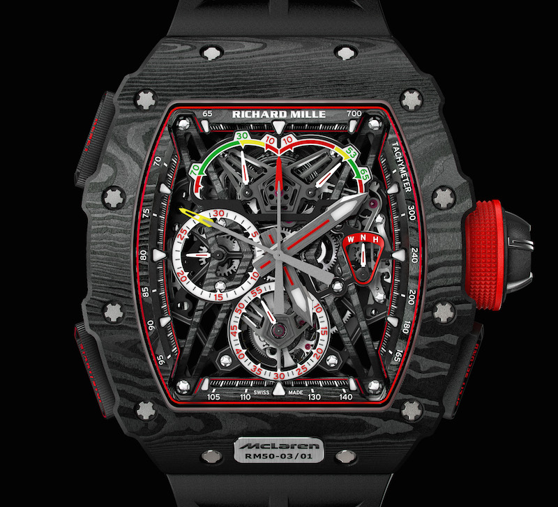 At SIHH 2017 Richard Mille RM 50-03 Tourbillion Split Seconds Chronograph is made from a high-tech material called Graph TPT™, or graphene.
