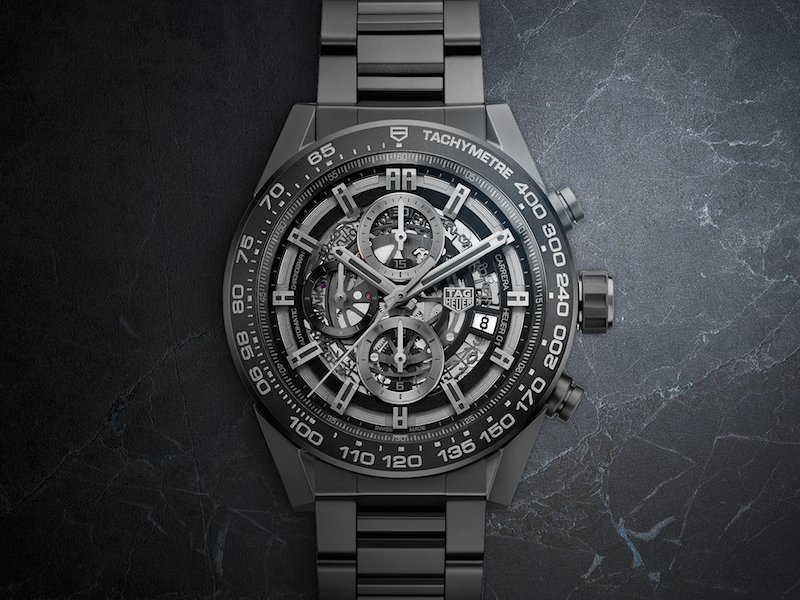 The TAG Heuer, the Carrera HEUER-01 comes with a tachymetre and is scratch resistant.