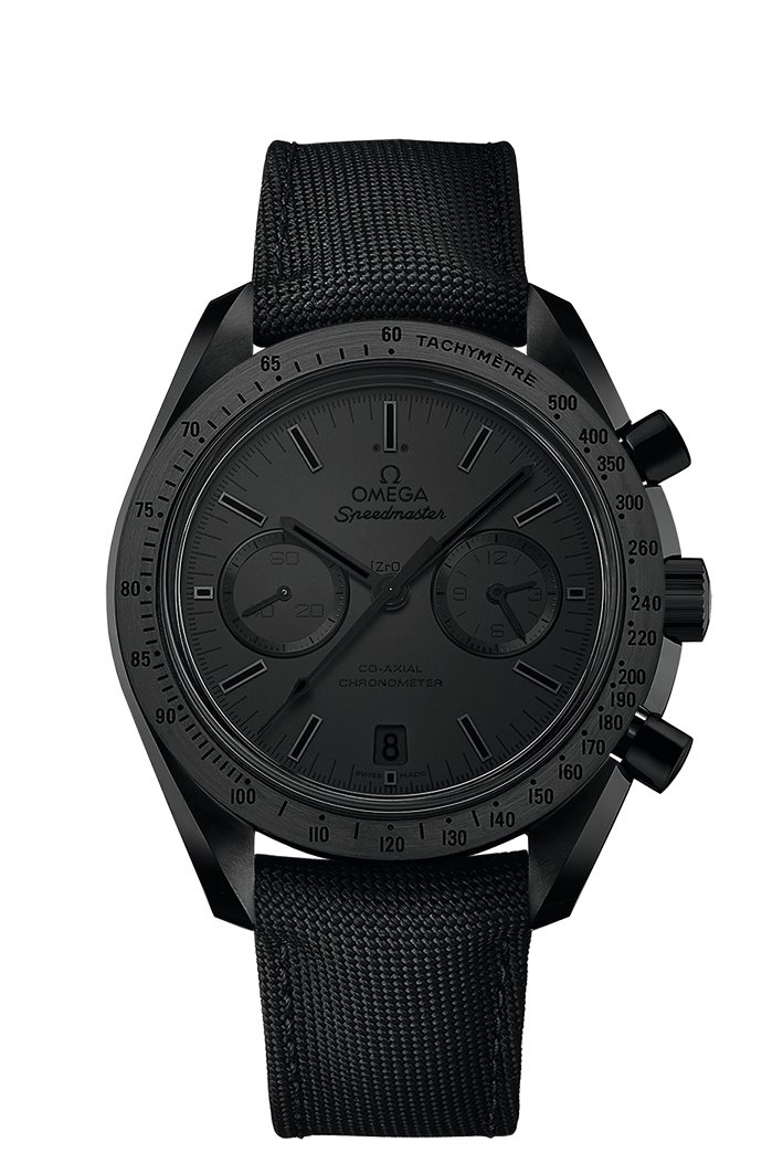 The Omega Speedmaster is completely blacked out.