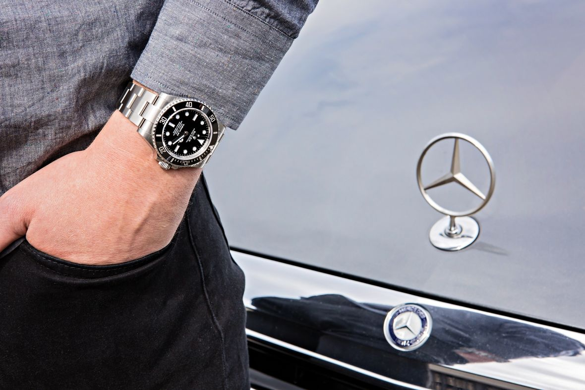 Mercedes Hands Rolex Submariner Black Dial 124060
