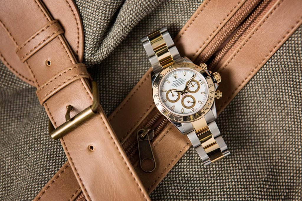 The two-tone Daytona ref. 116523 comes in just under $12k, and is an ideal wedding gift