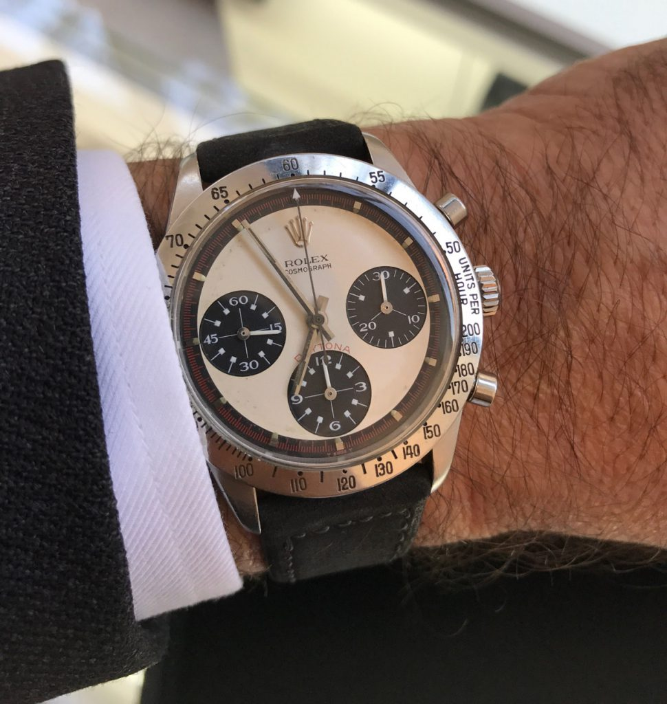 Paul Newman's own Rolex Daytona ref 6239 on the wrist of Bob's Watches CEO, Paul Altieri.