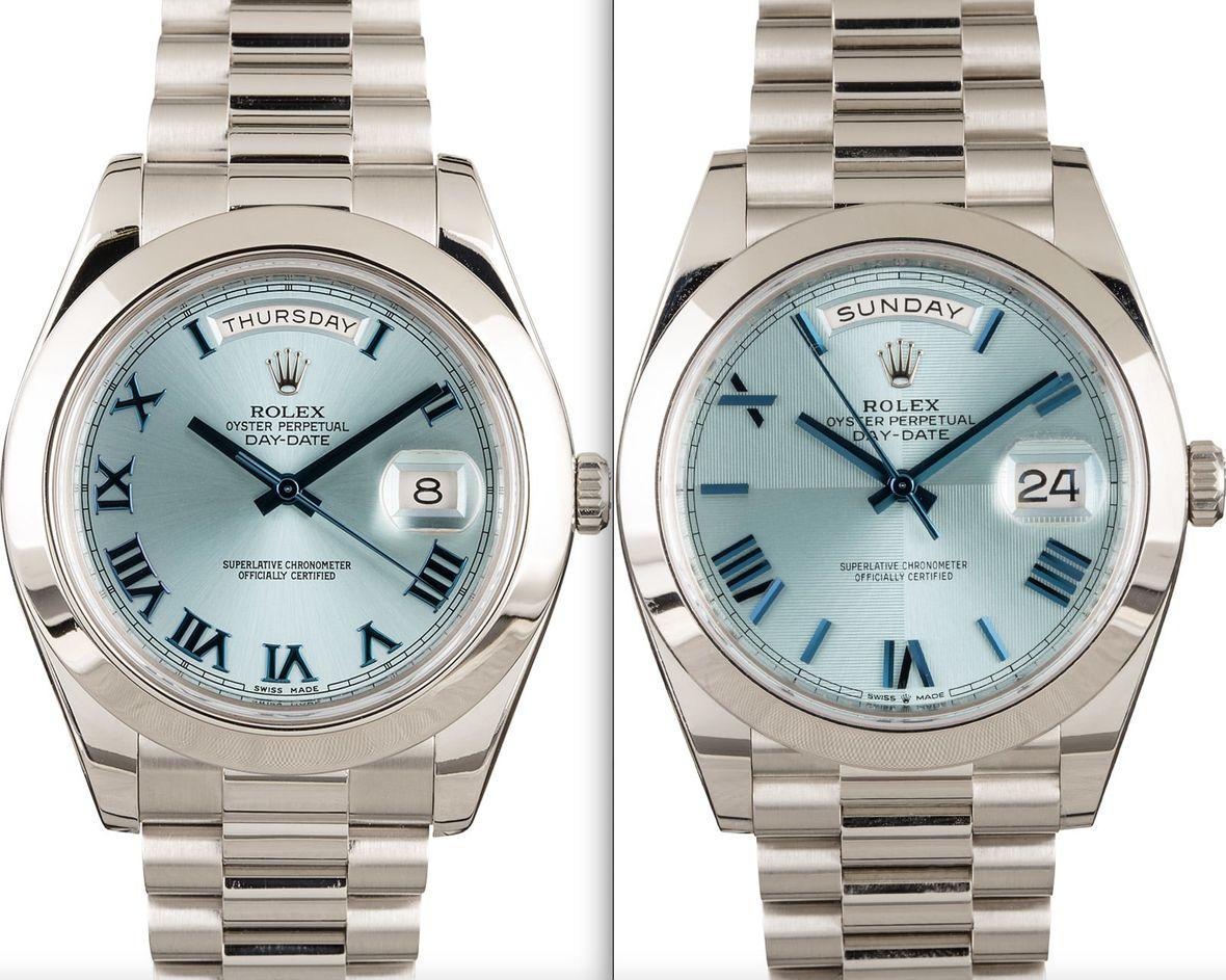 Rolex Day-Date II vs Day-Date 40 - Platinum Ice Blue