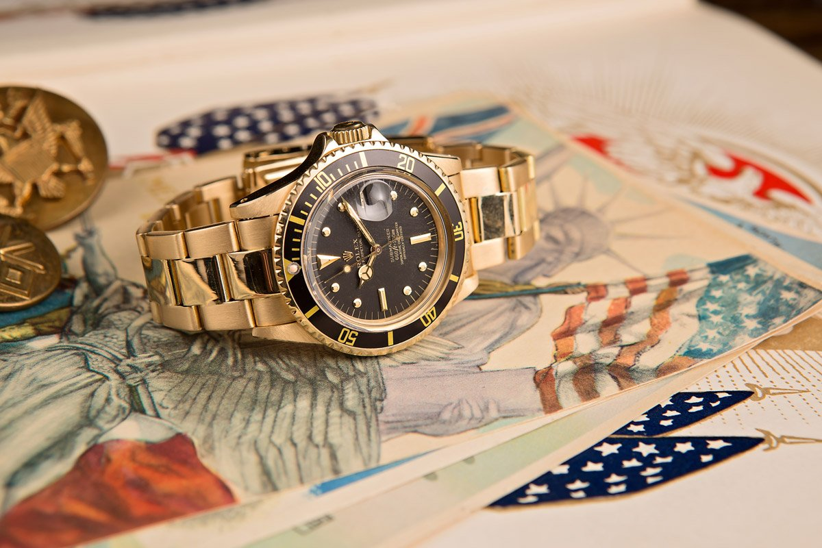 First Rolex Submariner Gold Watch Black Nipple Dial