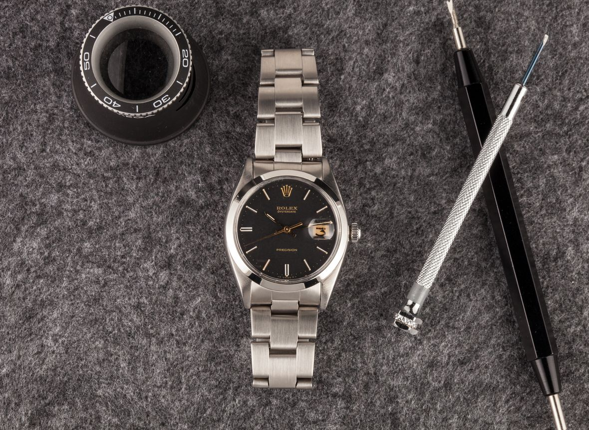 Rolex Oysterdate Precision 6694 Black Dial Stainless Steel