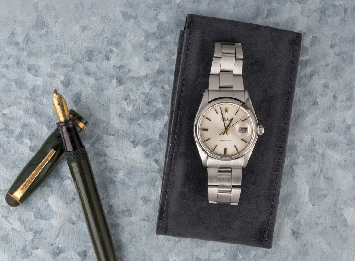 Rolex Oysterdate Precision 6694 Vintage Silver Dial Gold Markers