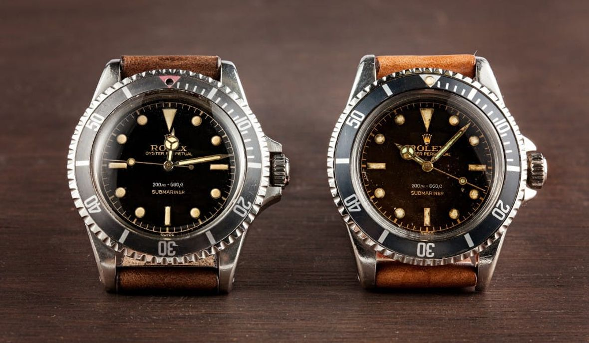 Vintage Rolex Submariner 5512 Watch Comparison Crown Guards