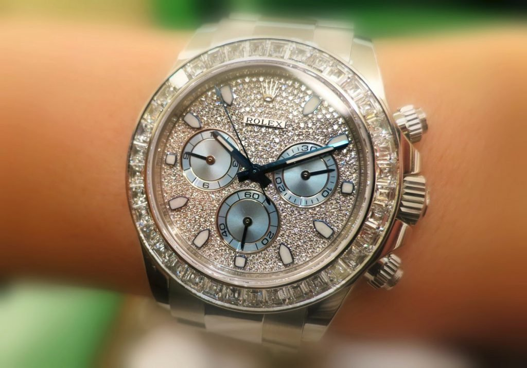 A custom Rolex Daytona encrusted with diamonds