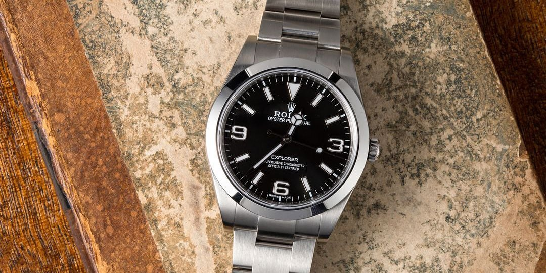 The modern Rolex Explorer 214270 is available only on an Oyster bracelet in stainless steel