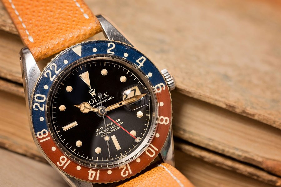 This Ref. 6542 Rolex GMT-Master's bezel was made from Bakelite