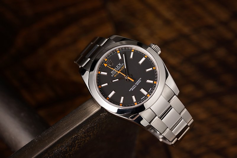 The Rolex Milgauss ref. 116400 with a black dial and stainless steel casing