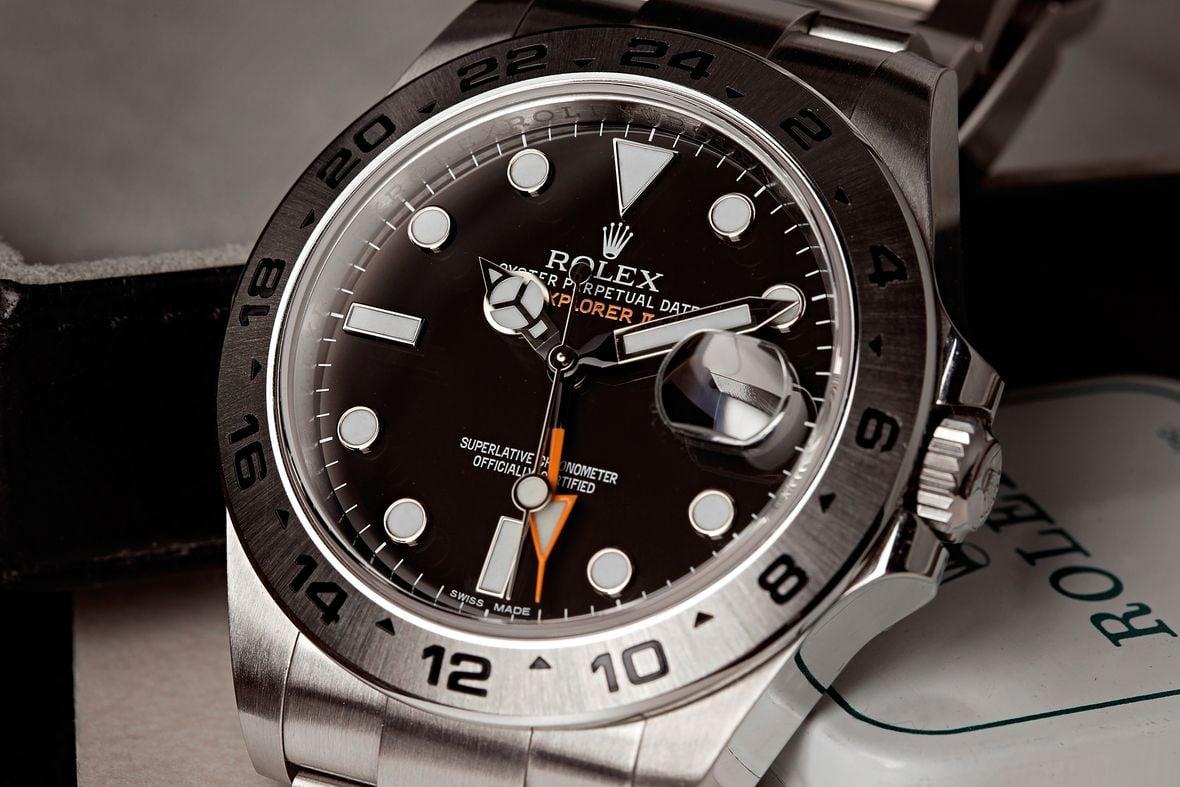 Oystersteel Rolex Explorer II Black Dial 216570