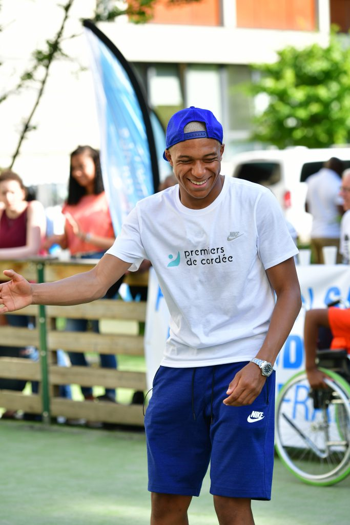Kylian Mbappe playing street football with a Rolex Yacht-Master 116622