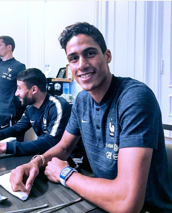 Real Madrid center back Raphael Varane sporting a Blue Ceramic Richard Mille RM030 with White Strap