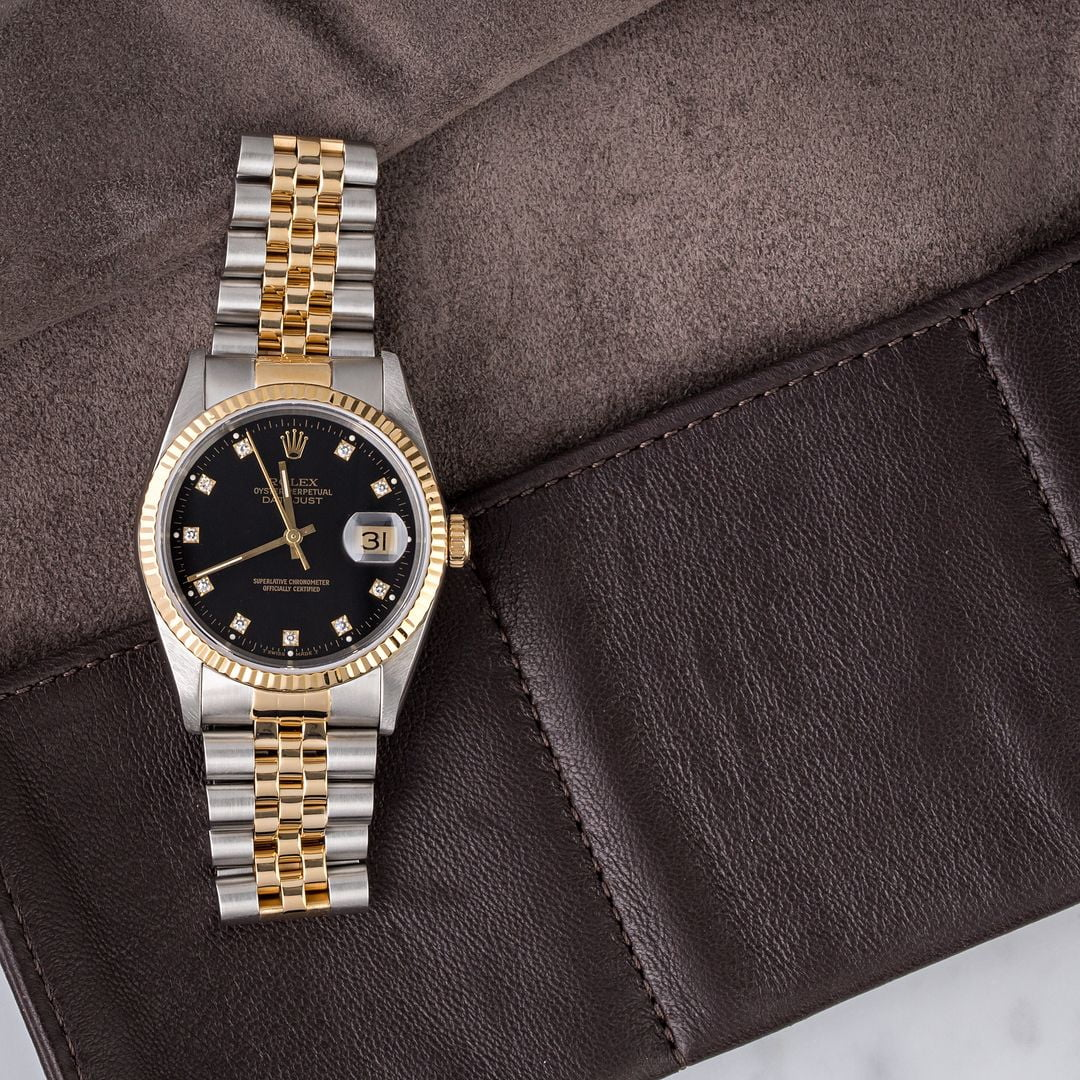 two-tone rolex watches datejust 16233 black diamond dial